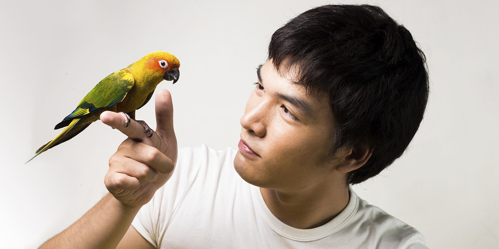 Man holding pet parakeet.